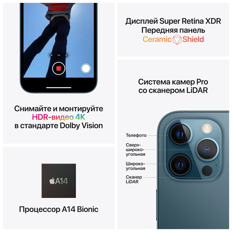 Смартфон Apple iPhone 12 Pro Max 128GB Pacific Blue (MGDA3) фото 6