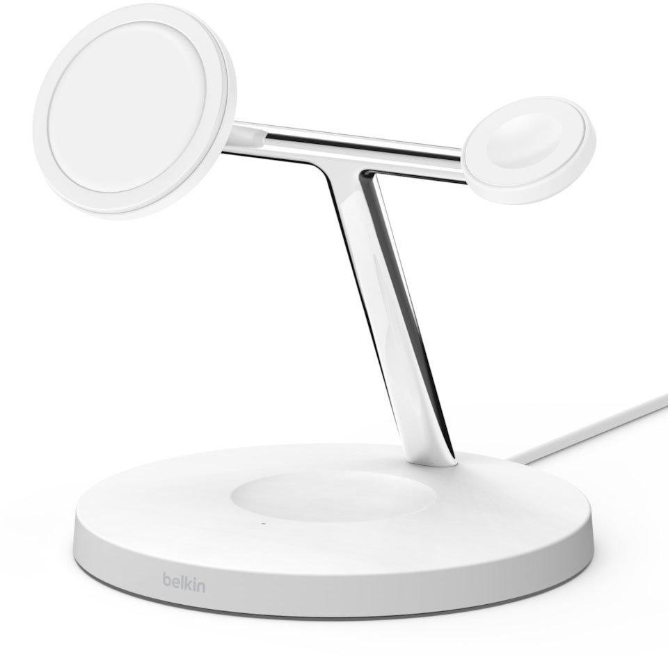 Бездротове ЗУ Belkin MagSafe 3-in-1 Wireless Charger White (WIZ009VFWH) фото