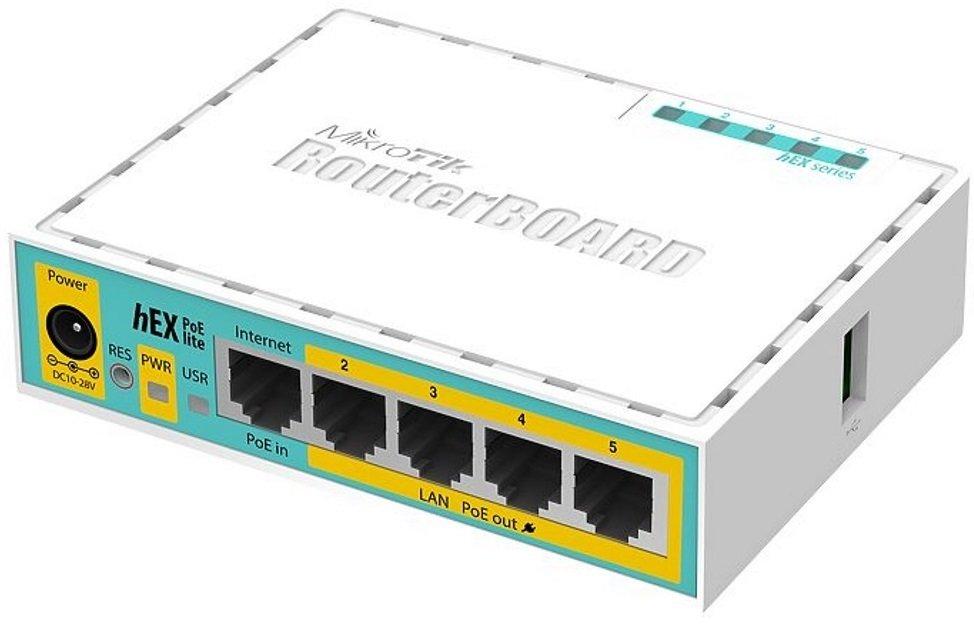 Маршрутизатор MikroTik hEX PoE lite 5xFE/PoE, 1xUSB, RouterOS L4 (RB750UPr2) (RB750UPR2) фото