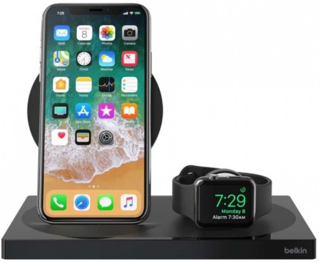 Беспроводное ЗУ Belkin 2-in-1 Wireless Pad/Stand/Apple Watch Black (F8J234VFBLK-APL) фото 4