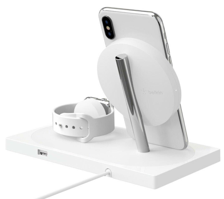 Беспроводное ЗУ Belkin 2-in-1 Wireless Pad/Stand/Apple Watch White (F8J234VFWHT-APL) фото 6