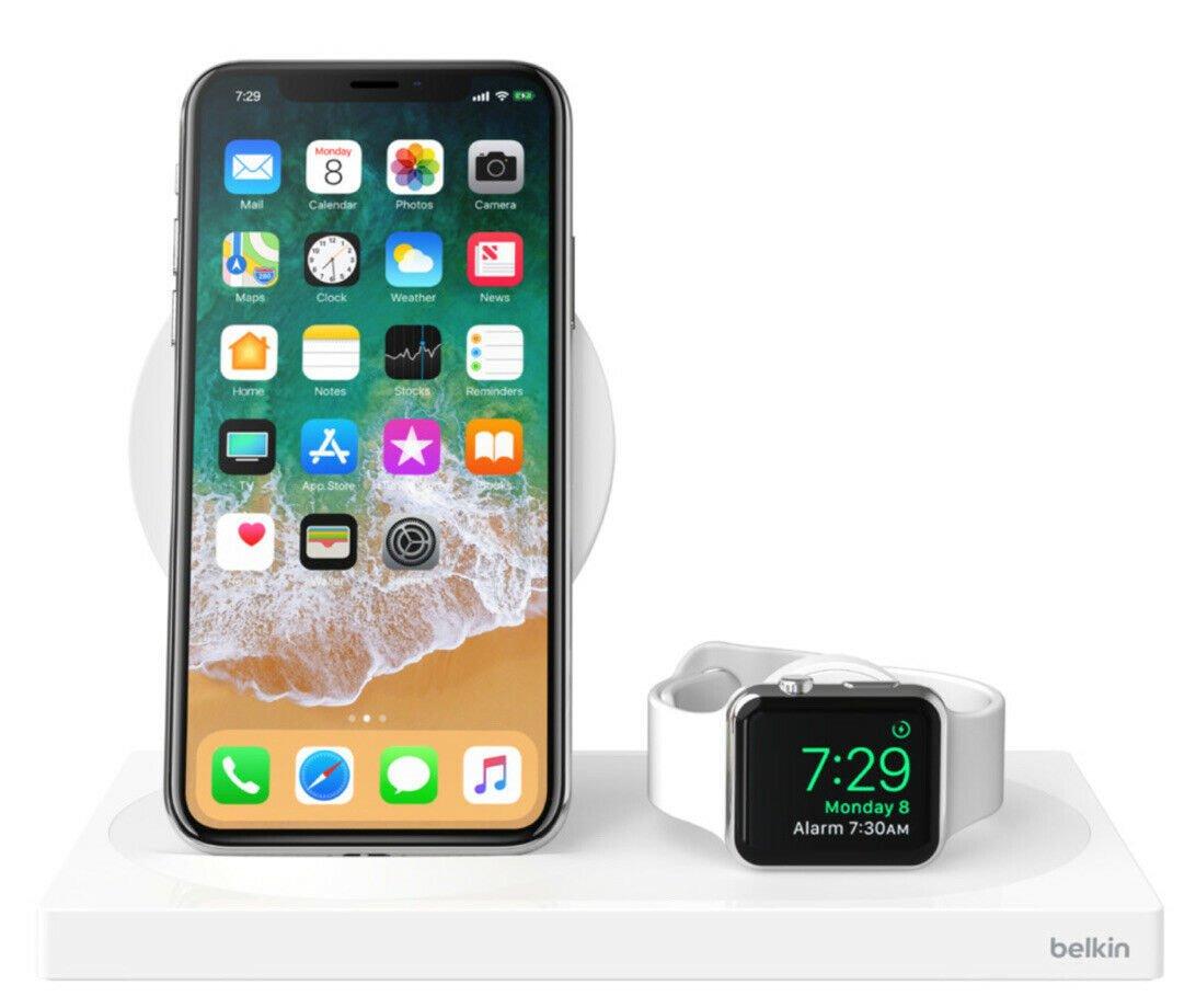 Беспроводное ЗУ Belkin 2-in-1 Wireless Pad/Stand/Apple Watch White (F8J234VFWHT-APL) фото 4