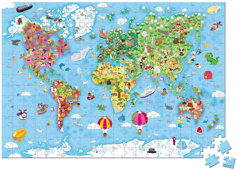 Пазл двусторонний Janod Карта мира 300 эл. J02656 фото