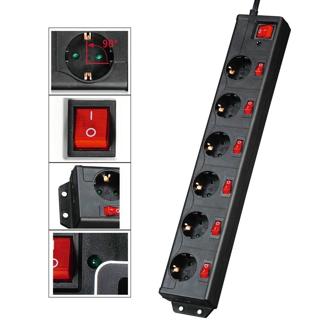 Сетевой удлинитель Hama 6хSchuko с отдельным включением каждой розетки 3G*1.5mm 1.4 m Black (00137259) фото 2