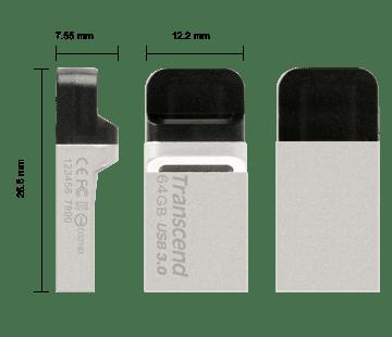 Накопичувач USB 3.0 TRANSCEND JetFlash OTG 880 64GB Metal Silver (TS64GJF880S) фото