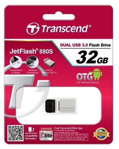 Накопичувач USB 3.0 TRANSCEND JetFlash OTG 880 32GB Metal Silver (TS32GJF880S) фото