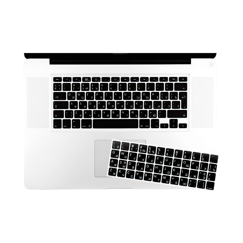 Наклейка на клавіатуру MacBook основа чорна символ білий фото2