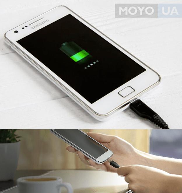 Процесс зарядки телефона