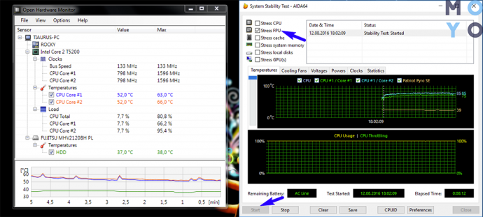 проверка температуры процессора в Open Hardware Monitor и Aida64