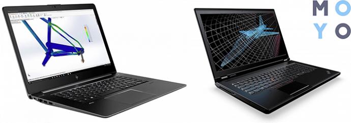 ноутбуки HP Zbook Studio G4 (X5E44AV) и LENOVO ThinkPad P71 (20HK0007RT) — графические станции