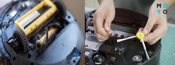 Очистка турбощетки и боковой щетки робота-пылесоса