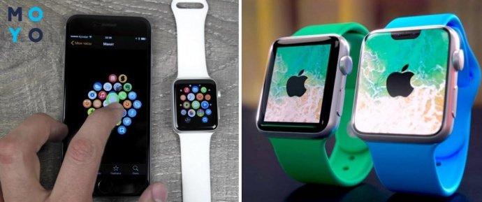 Часы Apple Watch и смартфон
