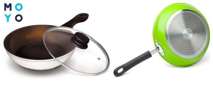 Сковороды с керамическим покрытием спереди и сзади