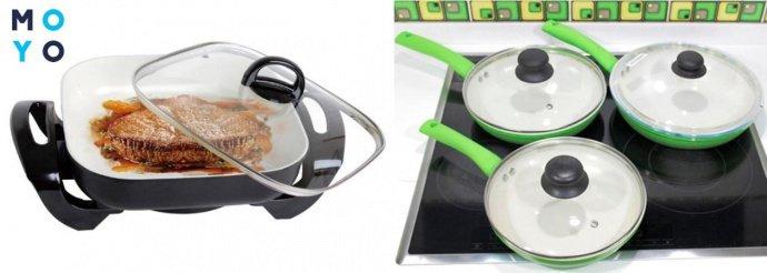 Электрическая и стандартные сковороды с керамическим покрытием