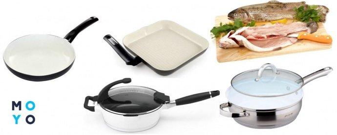 Разные виды сковороды с керамическим покрытием