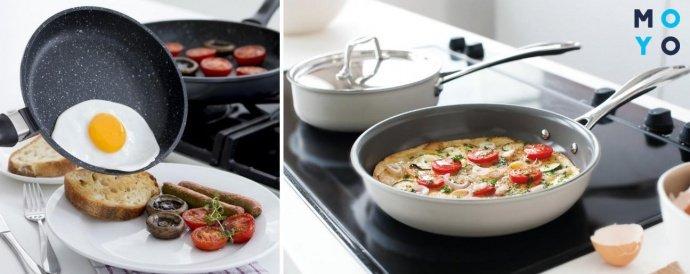 Приготовленные блюда в сковороде с керамическим покрытием