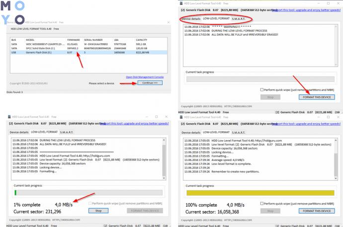 низкоуровневое форматирование жесткого носителя информации программой HDD LLF Low Level Format Tool
