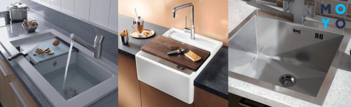 Разные типы монтажа кухонных моек