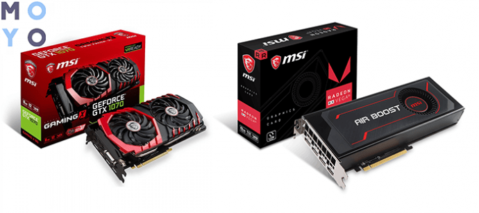 хорошие видеокарты MSI GeForce GTX 1070 8GB GDDR5 Gaming X и Radeon RX VEGA 56 8GB HBM2 Turbo
