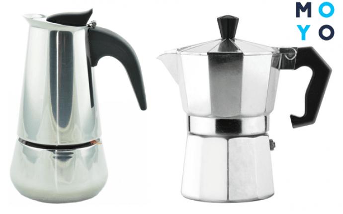 Гейзерная кофеварка из нержавейки vs алюминиевая