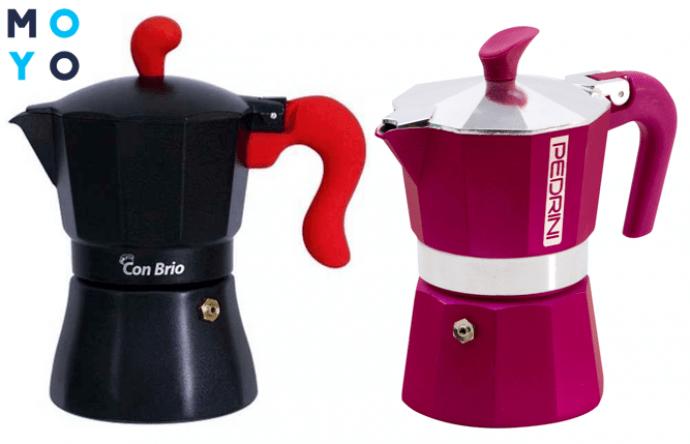Алюминиевые гейзерные кофеварки разного дизайна