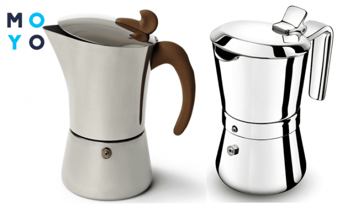 Гейзерные кофеварки из нержавеющей стали имеют красивый блеск