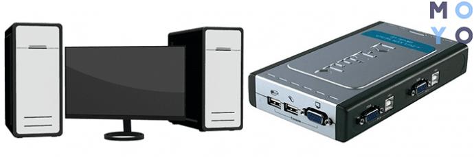 подключение 1 монитора к 2 ПК с помощью KVM переключателя