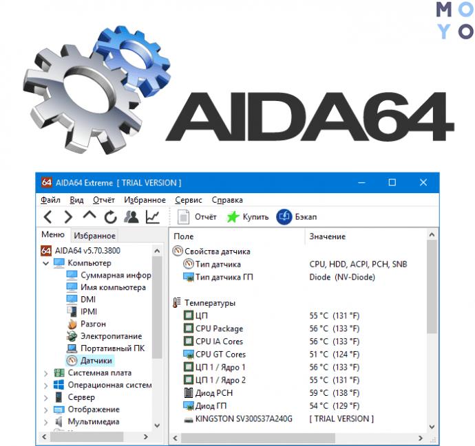 проверка температуры комплектующих в AIDA 64