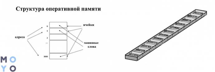 структура ОЗУ, упорядоченные ячейки памяти