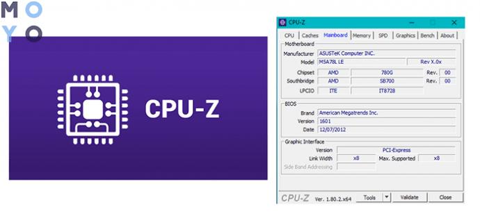 как посмотреть модель материнской платы в CPU-Z