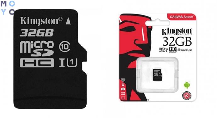 Kingston microSDHC 32GB для экшен камеры