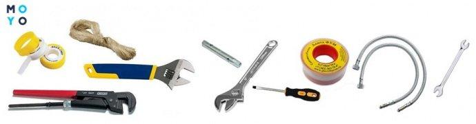 Набор инструментов для демонтажа старого смесителя на кухне
