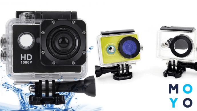 экшн камера с аквабоксом в воде