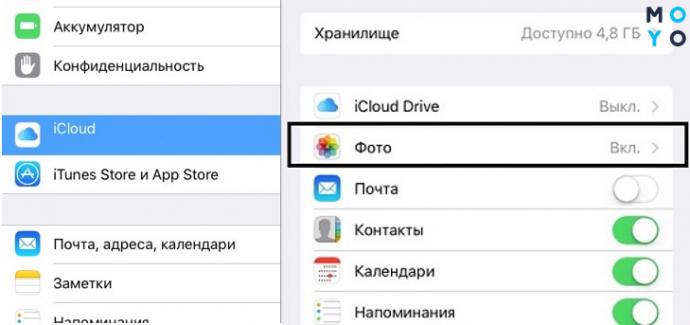 Настройка синхронизации айфона с iCloud для переноса фото