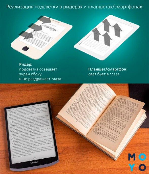 модель pocketbook inkpad x 1040 в сравнении с печатной книгой