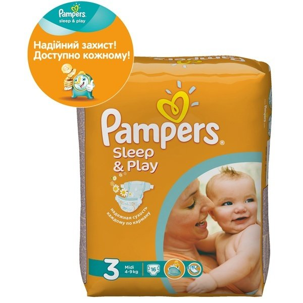 f4ccac6b10db Подгузники PAMPERS Sleep   Play Midi 16 шт. (4015400122838) фото 1