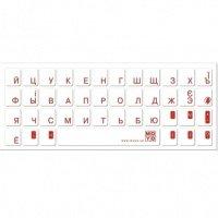 Наклейка на клавиатуру основа прозрачная символ красный