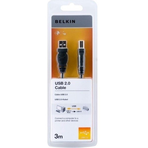 Переходники, Кабель USB (AM/BM) принтер Belkin 3, 0м Чёрный  - купить со скидкой