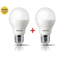 Комплект ламп светодиодных Philips LEDBulb E27 7.5-60W 3000K 230V A55 (1+1) (8711500817648)