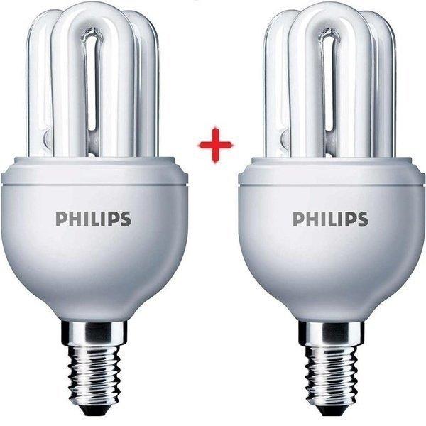 Комплект ламп энергосберегающих Philips E14 8W 220-240V 2700K Genie (1+1) фото