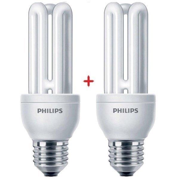 Комплект ламп энергосберегающих Philips E27 14W 220-240V 2700K Genie (1+1) фото 1
