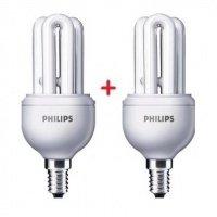 Комплект ламп энергосберегающих Philips E14 11W 220-240V 6500K Genie (1+1)