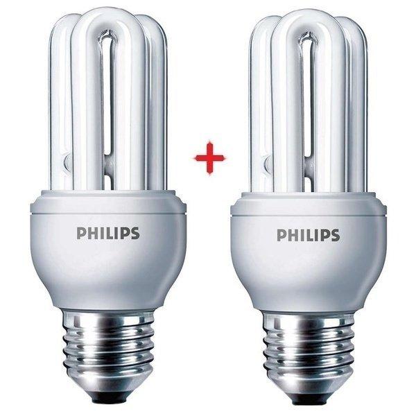 Комплект ламп энергосберегающих Philips E27 11W 220-240V 6500K Genie (1+1) фото 1