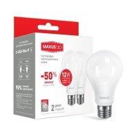 Комплект светодиодных ламп MAXUS A65 12W 4100K 220V E27 (2-LED-564-P)
