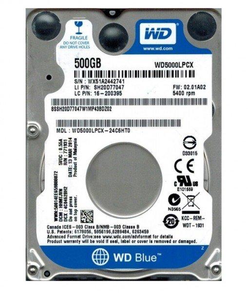 Купить Жесткий диск внутренний WD 2.5 SATA 3.0 0.5TB 5400rpm 16Mb Cache Blue 7mm (WD5000LPCX)