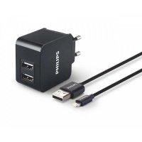 ЗУ сетевое МС Philips 2xUSB 3.1А + Lightning Black