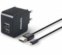 ЗУ сетевое МС Philips 2xUSB 3.1А + micro USB Black
