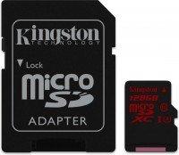 Карта памяти Kingston microSDXC 128GB Class 10 UHS-I U3 R90/W80MB/s 4K + SD-адаптер