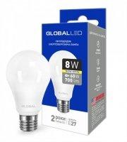 Светодиодная лампа GLOBAL A60 8W мягкий свет 220V E27 AL (1-GBL-161)