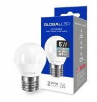 Светодиодная лампа GLOBAL G45 F 5W яркий свет 220V E27 AP (1-GBL-142)
